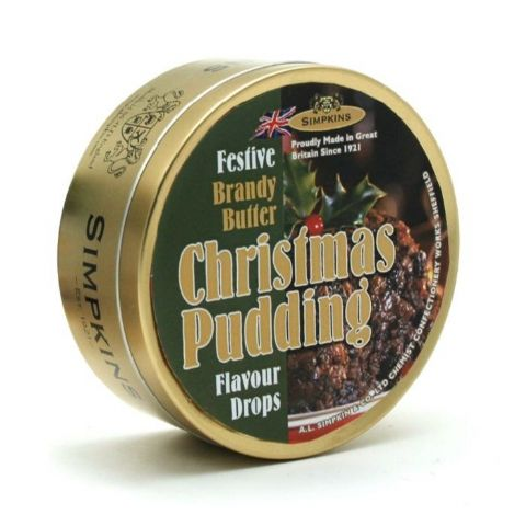 Christmas Pudding Flavour Drops Festive Limited Edition Simpkins Traditional Travel Sweets Tin 200g
